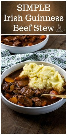 SIMPLE Irish Guinness Beef Stew – Simple Party Food This classic Irish Beef Stew is a perfect meal during St. Tender seared meat, veggies and potatoes simmer in the crockpot with both Guinness beer and red wine for a robust succulent gravy. Crockpot Recipes, Cooking Recipes, Beef Stew Crockpot Recipe, Crockpot Dishes, Guinness Beef Stew, Easy Beef Stew, Irish Beef, St Patricks Day Food, Irish Recipes