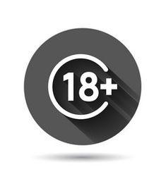 Eighteen plus icon in flat style 18 on black vector