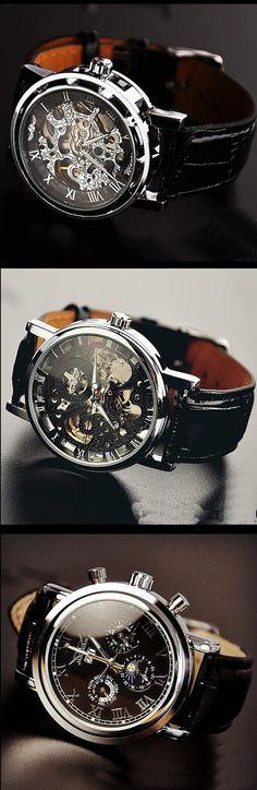 Stan Vintage Watches | Fashion Day Night Men's Vintage Wrist Watch (WAT0102-BLACK)