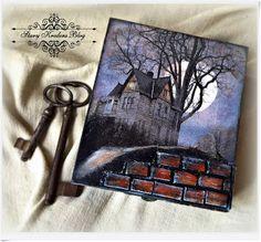 Pude³ko w czerni , ksiê¿yc i mroczny  Haunted Manor - decoupage.
