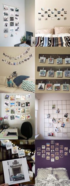 Photos in bedroom, diy bedroom, dream bedroom, bedroom furniture, bedroom s Polaroid Display, Polaroid Ideas, Hanging Polaroids, Polaroid Crafts, Diy Polaroid, Polaroid Cube, Polaroid Photos, Ways To Hang Polaroids, Tumblr Polaroid