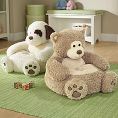 Kids Plush Animal Chair from One Step Ahead Stuffed Animal Bean Bag, Giant Stuffed Animals, Siege Bebe, Soft Seating, Plush Animals, Animals For Kids, Kids Furniture, Furniture Chairs, Bean Bag Chair