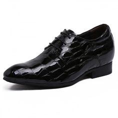 Tall 3.2inch / 8cm British black patent leather height business shoes