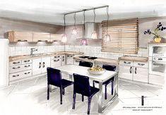 Artwork For Home Decoration Interior Architecture Drawing, Drawing Interior, Interior Design Sketches, Interior Rendering, Kitchen Interior, Kitchen Design, Decoration Shop, Artwork For Home, Decoration Inspiration