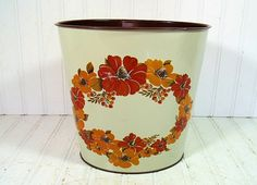 Retro Ransburg Red OverSized Metal Waste Cans Pair by DivineOrders
