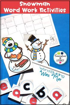 Students will have snow much fun building blends and digraph words with  cute snowmen and snowballs! Students choose a snowman with a picture. Then they record their word on the recording sheet after building it using snowballs on the Word Building Word Mat. #blends #digraphs #phonics #literacycenters #conversationsinliteracy #kindergarten #firstgrade #secondgrade kindergarten, 1st grade, 2nd grade