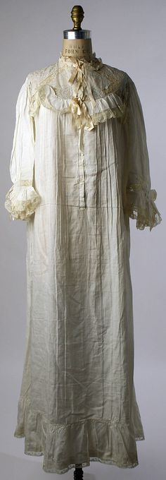 Nightgown Date: ca. 1910 Culture: French Medium: cotton Dimensions: Length: 45 in. (114.3 cm)