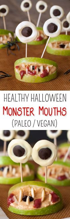 These healthy monster mouths are perfect for Halloween and just use apples, strawberry jam, nut butter, almonds and if you want – chocolate! Naturally paleo, vegan, grain-free, gluten-free and dairy-free.