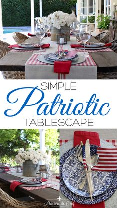 Patriotic Table Setting - Galvanized chargers on top of a red plaid place mat, blue floral plates on top of a red napkin; loosely tie silverware together with a flag. Centerpiece of white flowers (my hydrangeas will be prime) in a galvanized bucket. Table Setting Inspiration, Setting Table, Fourth Of July Decor, July 4th, Small American Flags, Simple Centerpieces, Beautiful Table Settings, Summer Diy, Summer Ideas