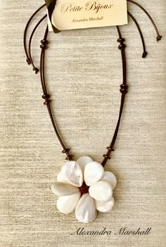 """""""Magnolia"""" wired Mother of Pearl blossom necklace with leather straps by Alexandra Marshall. Sliding clasp enables adjustable lengths from to Pearl Necklace, Beaded Necklace, Necklaces, Design Crafts, Semi Precious Gemstones, Magnolia, Jewelry Ideas, Beading, Pearls"""