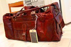 Handmade leather duffle, travel, cabin or weekend bag