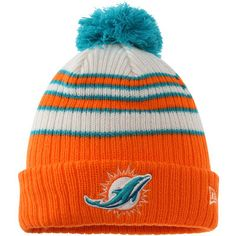 Miami Dolphins New Era Traditional Stripe Cuffed Knit Hat - Orange