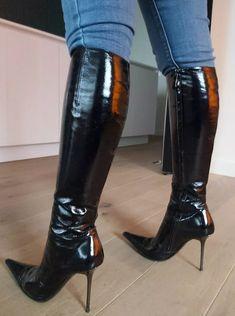 Shiny Boots, Black Boots, High Heel Boots, Heeled Boots, Girls Heels, Womens High Heels, Leather Boots, Footwear, Boots Women