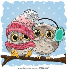 Two cute drawn Owls sits on a branch in a snow