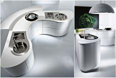 Futuristic White Kitchen Island With Huge Pendant Lamp In Kitchen Design