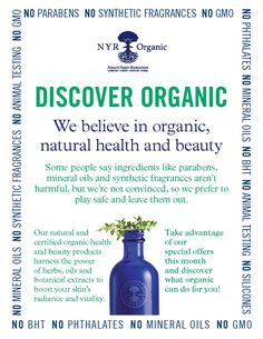 Discover Organic. Treat your skin to the best - at amazing prices. You will not regret discovering NYR organics.