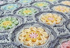 Add a bit of romanticism and beauty to your favorite outfit or bag with the Secret Garden Crochet Granny Circle. Featuring the popular crochet granny square, this design will brighten your day with its vivid color scheme. Crochet Granny Square Afghan, Crochet Squares, Crochet Motif, Crochet Shawl, Crochet Yarn, Free Crochet, Crochet Blankets, Granny Squares, Square Blanket