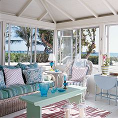 Mix & Match - Beach Style: Poolside Preppy Interiors - Coastal Living Go casual with a combination of fabrics, colours, and materials. Start with the same soothing colour for the walls and mismatched chairs, then experiment with plaids and florals. Use contrasting piping on accent pieces.