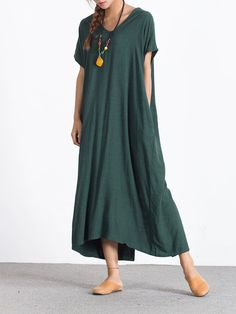 Casual Loose Short Sleeve V-neck Pure Color Maxi Dress For Women