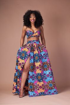 Floral Print Strapless Crop Top with High-waisted Long Skirt Two Pieces Dress Set – African Fashion Dresses - African Styles for Ladies African Fashion Designers, African Print Fashion, Africa Fashion, Modern African Fashion, Tribal Fashion, Fashion Prints, African Print Dresses, African Fashion Dresses, African Dress