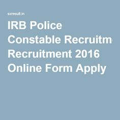 IRB Police Constable Recruitment 2016 Online Form Apply
