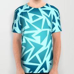 Geometric t-shirt, unisex tee. Turquoise and blue pattern t-shirt. Clothing.