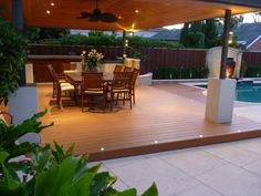 love this alfresco area (hipages.com.au) Timber ceiling panels and nice big fan