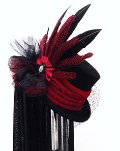 Gothic Victorian Raven black & red wedding hat