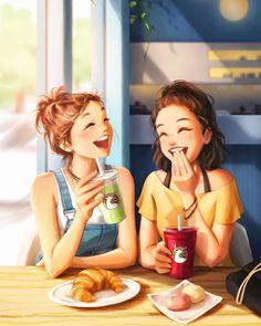 Cartoon Girl Images, Cute Cartoon Girl, Cute Love Cartoons, Cartoon Art Styles, Girly Drawings, Anime Girl Drawings, Anime Art Girl, Cute Images With Quotes, Pop Art Girl