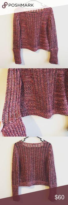 "Free People Knit Sweater Like new. Beautiful knit sweater by Free People. Reds and purples. Size Small. 58% Cotton, 42% Linen. Length: 19"". Armpit to armpit: 19"". Arm length: approx. 21"". Free People Sweaters"