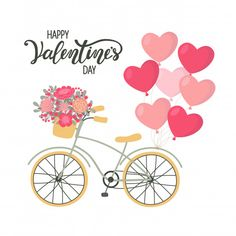 Valentine's day background bicycle with heart shaped balloons and flowers Premium Vector Happy Valentine Day Quotes, Valentines Day Greetings, Be My Valentine, Saint Valentine, Valentines Day Drawing, Valentines Day Background, Valentine's Day Greeting Cards, Balloon Flowers, Valentine's Day Quotes