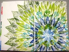 Krea d 'READY: Mandala' magazine temples' : art journal page created by painting and stamping fresh leaves in a circular pattern. Art Lessons For Kids, Art For Kids, Kids Fun, Book Page Art, Book Art, Round Robin, Fall Art Projects, Diy Crafts For Adults, Painted Leaves
