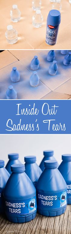 inside out movie party - sadness's water bottles and printables