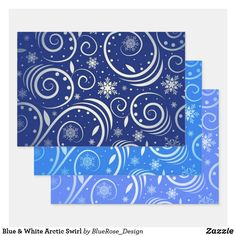 Blue & White Arctic Swirl Wrapping Paper Sheets