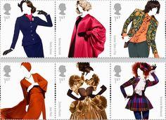 British Designer Stamps - Hardy Amies, Norman Hartnell, Granny Takes A Trip, Jean Muir, Zandra Rhodes, Vivienne Westwood