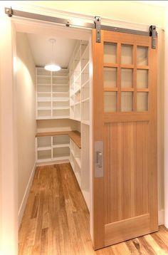 Amazing door treatment for walk in pantry.