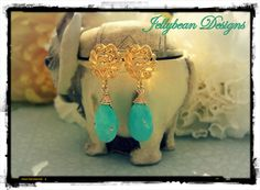 14k Vermeil Gold and Sleeping Beauty Turquoise gemstone post/stud earrings - by Jellybean Designs  www.madeit.com.au/jellybeandesigns #turquoise #gold #earrings #jellybeandesigns