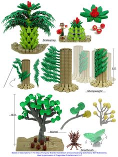 Lego fan art of the plants of Roshar, from Shallan's Sketchbook in The Way of Kings by Brandon Sanderson. Based on the sketch before chapter 57 by Ben McSweeney and the descriptions throughout the book.
