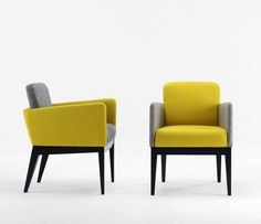 City 530T armchair upholstered in a retro black and yellow theme, inspired by Louis Vuitton Spring/Summer season advertisement.