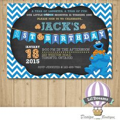 Cookie Monster Invitation chalkboard JPEG/PDF by LilDreamsDesign