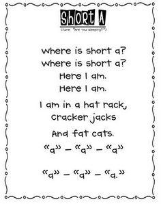Short vowel poems Sing it!