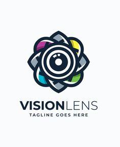 Vision Lens Logo Template. AI, EPS, JPG. 100% editable and scalable. Lens Logo, Pink Lady Apples, Logo Ideas, Logo Templates, Pink Ladies, Logos, Design, Logo