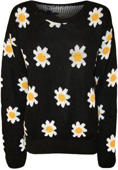 Neu Damen Blume Muster Lang Hülle Gestrickt Top Damen Pullover Jumper in Kleidung & Accessoires, Damenmode, Pullover & Strick   eBay!