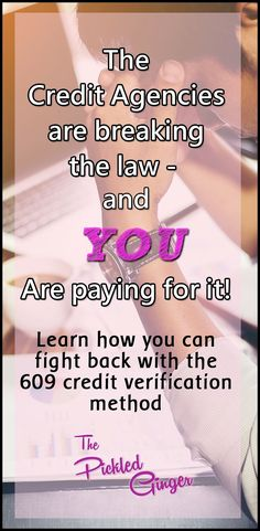 The credit agencies are breaking the law and YOU are paying for it! The Pickled Ginger - Find out how you can fight back and raise your credit score more than 200 points! How To Fix Credit, Good Credit Score, Improve Your Credit Score, Credit Repair Companies, Credit Agencies, Paying Off Credit Cards, Credit Bureaus, Financial Tips, Financial Peace