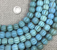 Cast /& Hand-Painted Mid Century Teal Glass African Trading Beads
