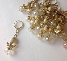 20 Gold-color Small ANGEL WITH WINGS  DECORATIVE KEYCHAIN For Party Favors