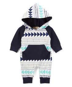 57ef3c61380 Love this Teal  amp  Black Geometric Hooded Romper - Infant on  zulily!
