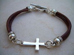 Leather Bracelet, Cross Bracelet,  Men, Women , Unisex, Antique Brown, | urbansurvivalgearjewelry - Jewelry on ArtFire