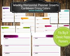 Caribbean Colors Weekly Horizontal Planner Inserts / Happy Planner PRINTABLE / Undated /Big or Classic Happy Planner- INSTANT  DOWNLOAD
