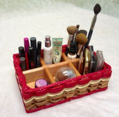 Makeup Basket--This cute makeup organizer can fit in your drawer or it looks great out on the counter!